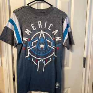 American Fighter T-Shirt Gray, White & Blue